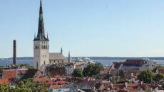 Panorama Tallina ze wzgórza Toompea. Widać kościół św. Olafa